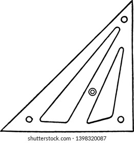 Zange Triangle is longer making the hypotenuse is elongated it has different patterns on all sides since no sides are equal vintage line drawing or engraving illustration.