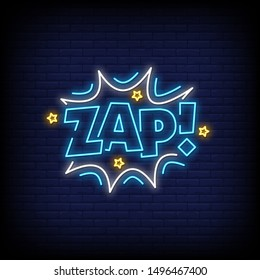 Zap neon signs text vector style