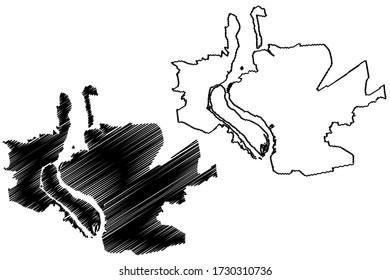 Zaporizhia City (Ukraine) map vector illustration, scribble sketch City of Zaporizhzhia, Zaporozhye, Alexandrovsk or Zaporizhzhya map
