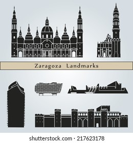 Zaragoza landmarks and monuments isolated on blue background in editable vector file