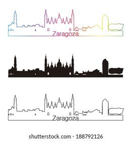Zaragoza skyline linear style with rainbow in editable vector file
