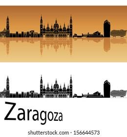 Zaragoza skyline in orange background in editable vector file