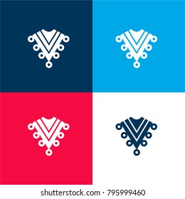 Zarape typical mexican clothes four color material and minimal icon logo set in red and blue