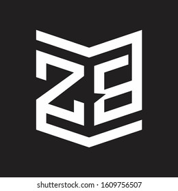 ZB Logo Emblem Monogram With Shield Style Design Template Isolated On Black Background