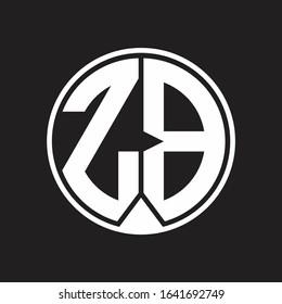 ZB Logo monogram circle with piece ribbon style on black background