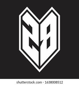 ZB Logo monogram with emblem line style isolated on black background