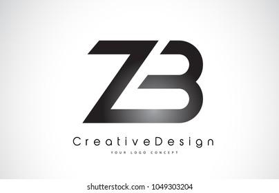 ZB Z B Letter Logo Design in Black Colors. Creative Modern Letters Vector Icon Logo Illustration.