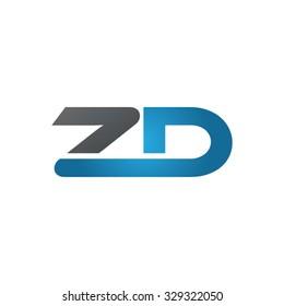 ZD company linked letter logo blue