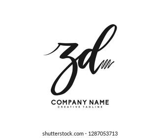 ZD Initial Handwriting Logo Template Vector