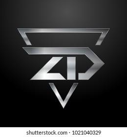 ZD Logo, Metal Logo, Silver Logo, Monogram, Polygon