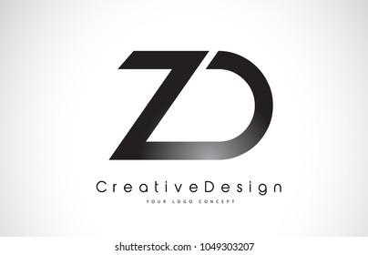 ZD Z D Letter Logo Design in Black Colors. Creative Modern Letters Vector Icon Logo Illustration.