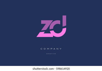 zd z d pink blue pastel modern abstract alphabet company logo design vector icon template letter