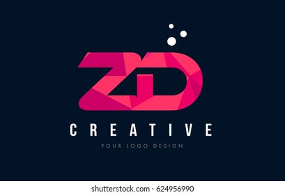 ZD Z D Purple Letter Logo Design with Low Poly Pink Triangles Concept