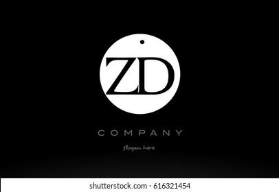 ZD Z D simple black white circle background alphabet company logo design vector icon template