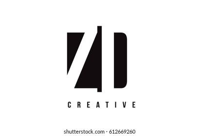 ZD Z D White Letter Logo Design with Black Square Vector Illustration Template.