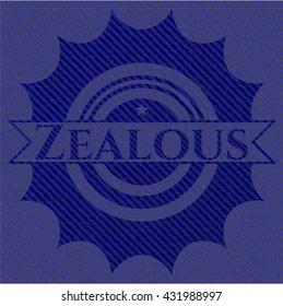 Zealous badge with jean texture