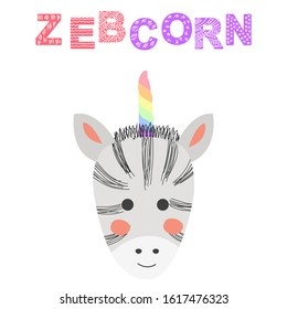 Zebcorn. Hand drawn illustration of a cute funny zebra with a unicorn horn, Scandinavian style flat design. Concept for children print.