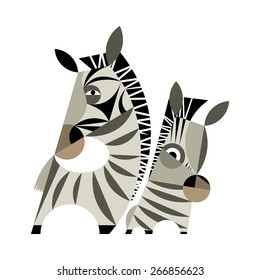 Zebra baby and father on a white background