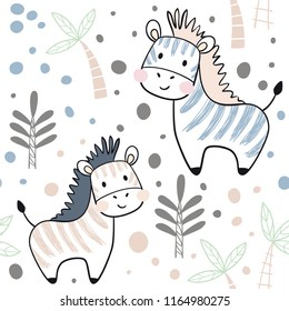 Zebra baby seamless pattern. Scandinavian cute print. Cool african animal illustration for nursery t-shirt, kids apparel, invitation cover, simple child background design. Baby shower card