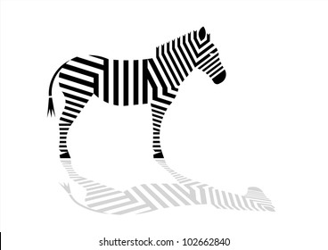 Zebra. Black parallel lines with shadow on white background