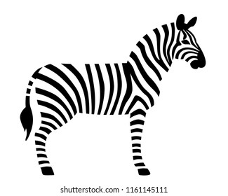 Zebra in black and white stripes. Vector illustration