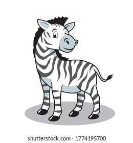 Zebra Cartoon Cute Animals Illustration Isolated