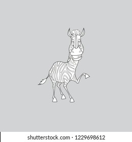 Zebra cartoon style isolated on gray background.Happy coloring book colorful for children.
