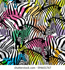 Zebra with colorful silhouette wildlife animals, seamless pattern. Wild animal design trendy fabric texture, illustration.