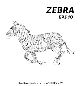 Zebra consists of points, lines and triangles. The polygon shape in the form of a silhouette of Zebra on a dark background. Vector illustration