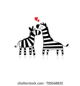 Zebra couple in love, sketch for your design