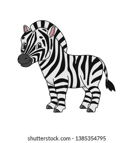 Zebra. Cute flat vector illustration in childish cartoon style. Funny character. Isolated on white background.