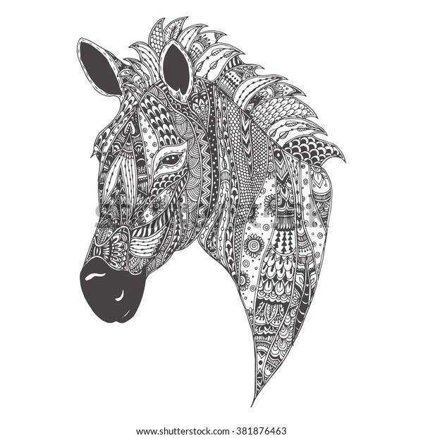 Vector Zentangle Style Zebra Head Illustration Stock Vector ...   620x600