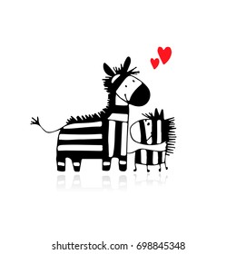 Zebra family, mother and child, sketch for your design