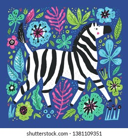 Zebra flat hand drawn illustration. African cartoon animal character on floral background. Multicolor vector flowers and leaves in scandinavian style. Wild mammal on botanical backdrop poster
