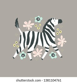 Zebra flat hand drawn poster. African safari cartoon animal character. Multicolor vector flowers, berries and leaves design elements. Wild savanna mammal isolated illustration in scandinavian style