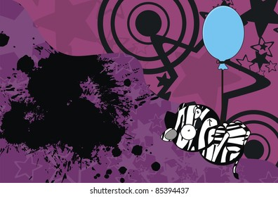 zebra funny cartoon background in vector format