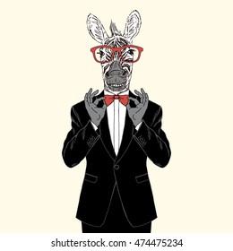 zebra gentleman adjusting his bow tie, anthropomorphic illustration, fashion animals