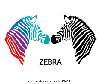 Zebra head. Hand drawn and outlined in vector illustration. Simple flat style. isolated on white background.