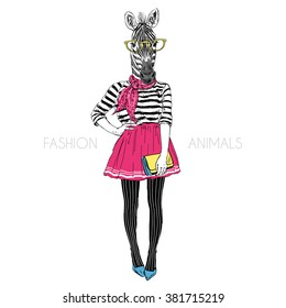 zebra hipster girl, fashion animal illustration