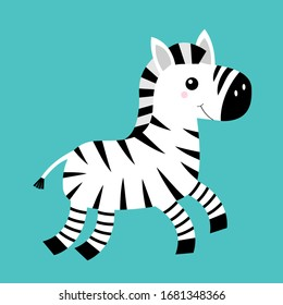 Zebra icon. Black striped horse jumping. Notebook cover, t-shirt print. Cute cartoon kawaii funny baby character. Zoo animal. Education cards for kids. Flat design. Isolated. Blue background. Vector