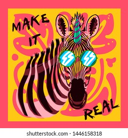 zebra illustration tee graphic print design