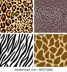 Zebra, leopard, snake, giraffe skin seamless pattern collection