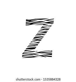 Zebra Letter Z Logo Design with Black and White Stripes Vector. Monochrome Z Zebra logo