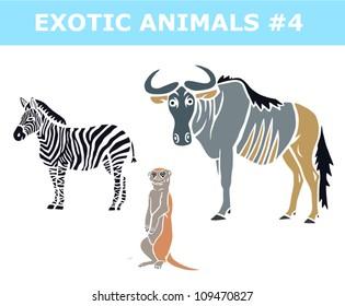 Zebra, Meerkat and Wildebeest