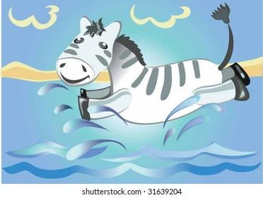 Zebra on water