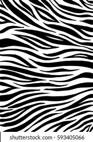 Zebra print, animal skin, tiger stripes, abstract pattern, line background, fabric. Amazing hand drawn vector illustration. Poster, banner. Black and white artwork, monochrome