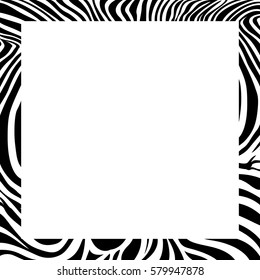 zebra print border, frame design. Animal skin texture. Vector illustration. Savannah Animal ornament.