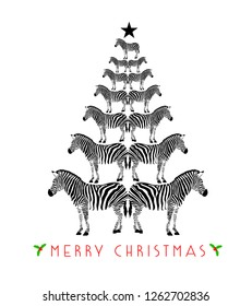 Zebra print shape into Christmas tree. Merry Christmas and happy new year. Wild animal design trendy texture, vector illustration isolated on white background.