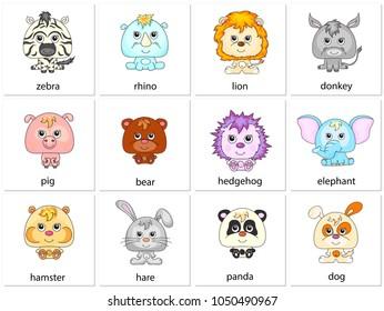 Zebra, rhino, lion, donkey, pig, bear, hedgehog, elephant, hamster, hare, panda, dog. Illustration for kids
