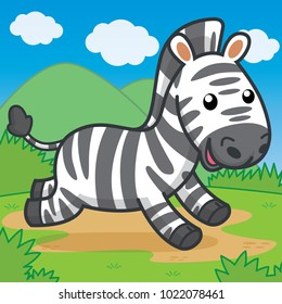 Zebra running, cute vector, cute cartoon